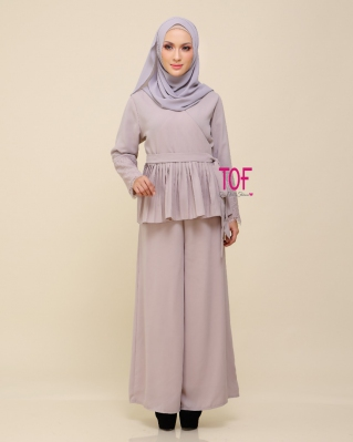 Y0154 SORA SET IN LIGHT GREY ( Free Size )